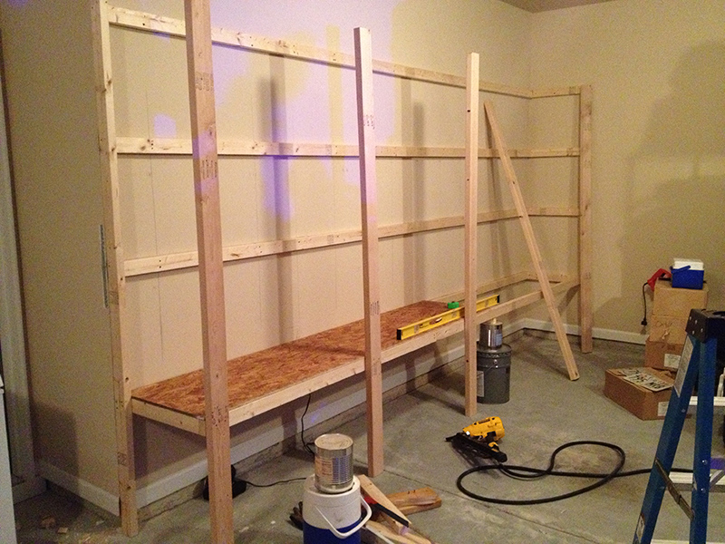 How to build sturdy garage shelves home improvement for How to make wall shelves easy